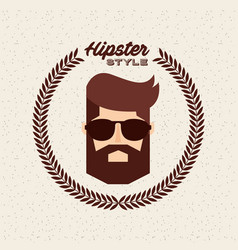 head man hipster style isolated icon vector image
