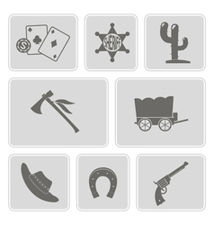 icons with cowboys and wild west theme vector image