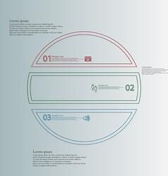 Infographic with circle divided to three color vector