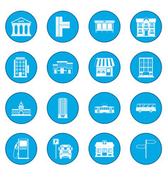 infrastructure set icon blue vector image
