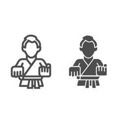 karate teacher line and solid icon self defense vector image
