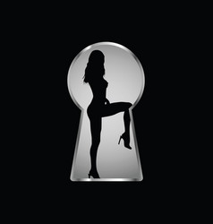 keyhole and a look at the girl through it three vector image
