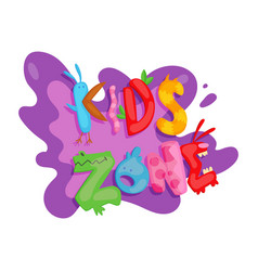 kids zone colorful banner poster for children vector image