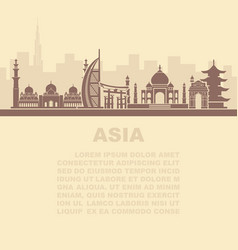 Layout leaflets with sights asia vector