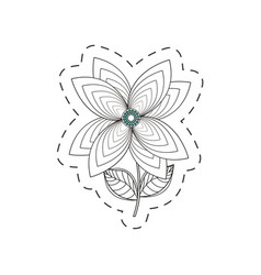 Lily flower decoration cut line vector