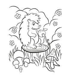 Little cute hedgehog sits on the stump vector