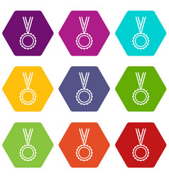 medal icon set color hexahedron vector image