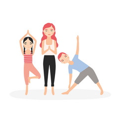 mom and children standing in yoga postures and vector image