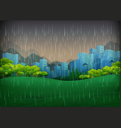 Nature scene with rainy day in city vector