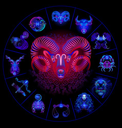 neon horoscope circle with signs zodiac set vector image