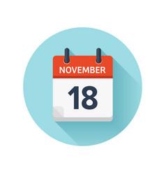november 18 flat daily calendar icon date vector image