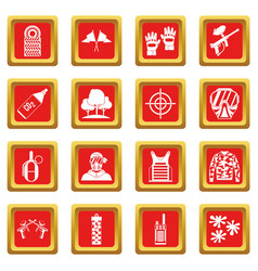 Paintball icons set red vector