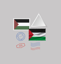 Palestine flag postage stamp set isolated on gray vector