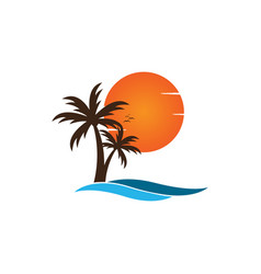 Palm tree on a beach logo design template vector