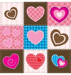 Patchwork with textured hearts vector