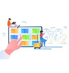 People choosing cardboard boxes on tablet screen vector