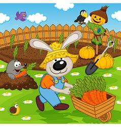 rabbit gardener with carrot vector image
