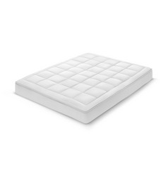 Realistic white mattress with shadow bedroom vector