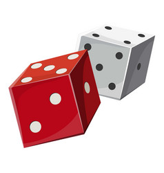 red and white dice cubes icon cartoon style vector image