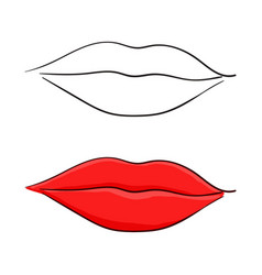 red lips colored and outline vector image