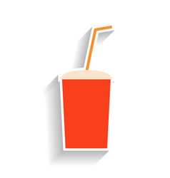 red paper cup for soda with a straw for drinking vector image