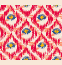 retro ikat colorful pattern with peacock feathers vector image