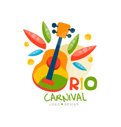 Rio carnival logo design bright festive party vector