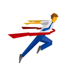 Running businessman crosses a finish line ribbon vector