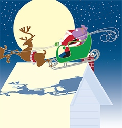 Santa in sled vector image