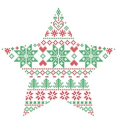 Scandinavian pattern in star shape in green and vector image