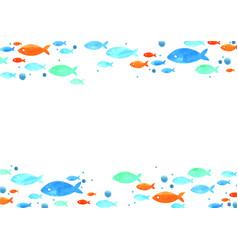School fish watercolor hand painting border vector