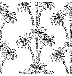 Seamless pattern palm trees contours vector image