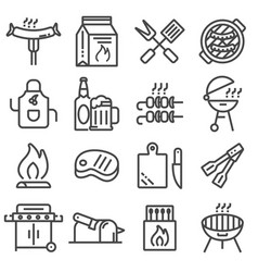 set barbecue related line icons vector image