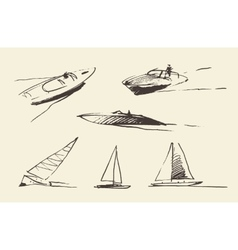 Set boats sketches drawn vector