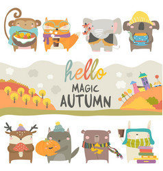 set cute animals with autumn theme on white vector image