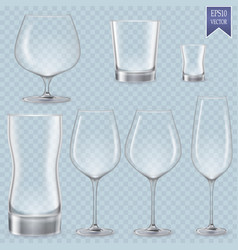 Set of cocktail stemware and glasses for alcohol vector