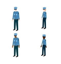 Set of isometric policemen vector image