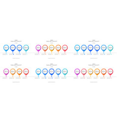 set timeline infographic template vector image