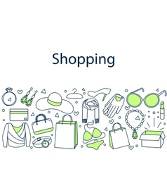Shopping banner doodle vector