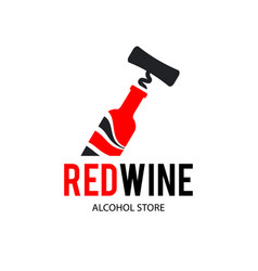 sign black corkscrew and a bottle red wine vector image