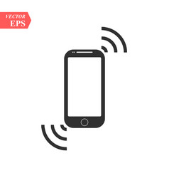 Smartphone mobile device ringing or vibrating flat vector