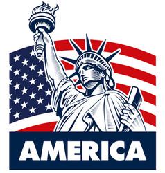 Statue liberty usa flag vector