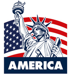 Statue of liberty usa flag vector