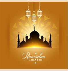 Stylish ramadan kareem mosque greeting design vector