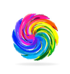 swirly multi-colored flower icon vector image