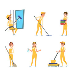Team workers of cleaning service set of different vector