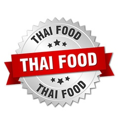 Thai food 3d silver badge with red ribbon vector