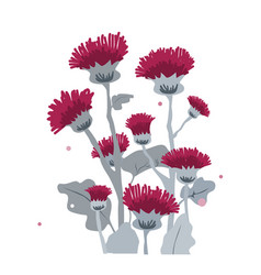 thistle or burdock flowers cartoon thistle vector image