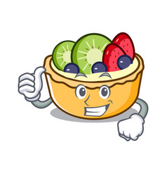 thumbs up fruit tart character cartoon vector image