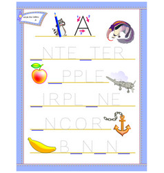 Tracing letter a for study english alphabet vector